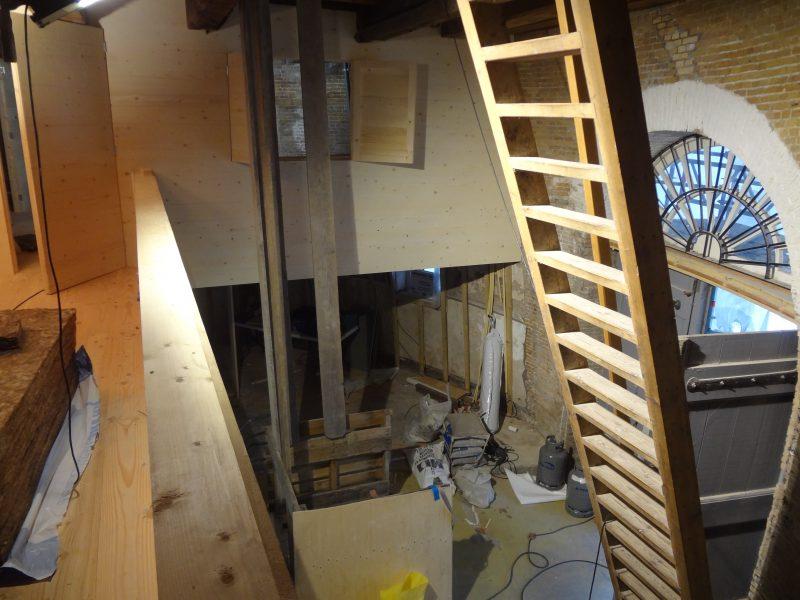 interieur in aanbouw Museummolen De Walvisch